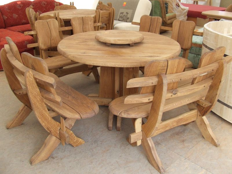 Solid Oak Garden/patio Furniture Set Country Round 4